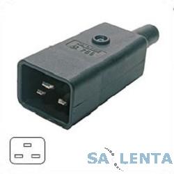 Hyperline CON-IEC320C20 Разъем IEC 60320 C20 220В 16A на кабель, контакты на винтах (плоские выступающие штыревые контакты в пластиковом обрамлении), прямой