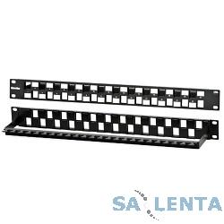 Hyperline PPBL3-19-24S-RM Модульная патч-панель 19″, 24 порта, Flat Type, 1U, для модулей Keystone Jack, с задним кабельным организатором (без модулей)