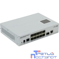 MikroTik CRS212-1G-10S-1S+IN Коммутатор Cloud Router Switch with Atheros QC8519 400Mhz CPU, 64MB RAM, 1xGigabit LAN, 10xSFP cages, 1xSFP+ cage, RouterOS L5, LCD panel, desktop case, PSU