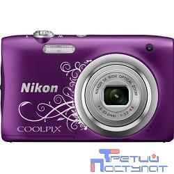 Nikon CoolPix A100 фиолетовый/рисунок {20.1Mpix Zoom5x 2.7