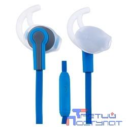 Perfeo PF-SPT-BLU/GRY наушники спортивные внутриканальные c микрофоном SPORT синие с серым