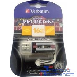 Verbatim USB Drive 16Gb Mini Cassette Edition Black 49397 {USB2.0}