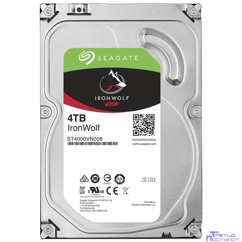 4TB Seagate Ironwolf (ST4000VN008) {SATA 6.0Gb/s, 5900 rpm, 64mb buffer, 3.5