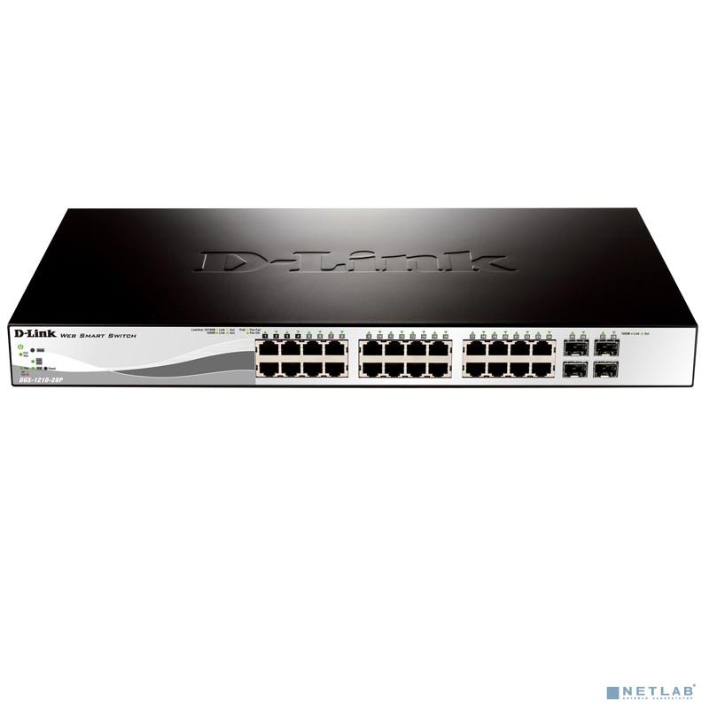 D-Link DGS-1210-28/ME/B1A Управляемый коммутатор 2 уровня с 24 портами 10/100/1000Base-T и 4 портами 1000Base-X SFP