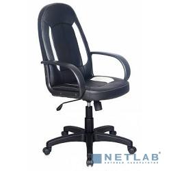 Бюрократ CH-826/B+WH Кресло руководителя (вставки белый сиденье черный искусственная кожа)