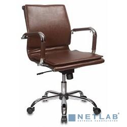 Бюрократ H-993-Low/Brown кресло руководителя низкая спинка коричневый искусственная кожа крестовина хромированная
