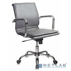 Бюрократ CH-993-Low/grey кресло руководителя (низкая спинка серый искусственная кожа крестовина хромированная)