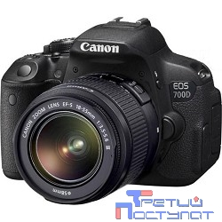 "Canon EOS 700D черный {18Mpix EF-S 18-55mm f/3.5-5.6 DC III 3"" 1080p Full HD SD Li-ion (с объективом)}"
