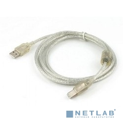 Cablexpert Кабель USB 2.0 Pro, AM/BM, 0,75м, экран, 2 феррит.кольца, прозрачный (CCF-USB2-AMBM-TR-0.75M)
