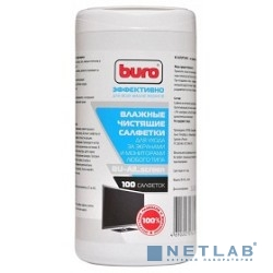 BURO BU-All_screen, 100 шт Салфетки для экранов мониторов/плазменных/ЖК телевизоров/ноутбуков туба 100шт влажных