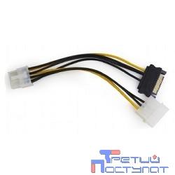 Cablexpert Разветвитель питания Molex+SATA-PCI-Express 8pin, для подключения в/к PCI-Е (8pin) к б/п ATX (CC-PSU-82)