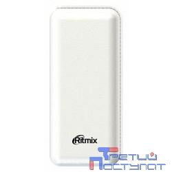 Ritmix Power bank Li-Ion узкий 6,4см, ёмкость 10 000мАч выход 2xUSB 5В 2,1А, фонарик + световой индикатор заряда, размер 145*65*22, цвет: белый поверхность