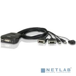 ATEN CS22D-(A7) Переключатель, электрон., KVM,  1 user USB+DVI =>  2 cpu USB+DVI, со встр.шнурами USB 2x0.9м., 2048x1536, настол., исп.стандарт.шнуры, без OSD, некаскад.