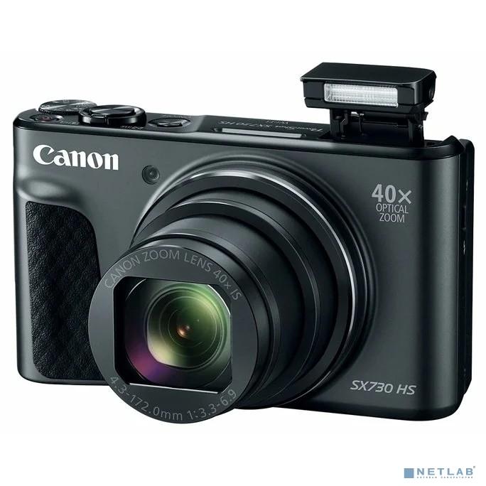 Canon PowerShot SX730HS(BKE) черный {21.1Mpix Zoom40x 3'' 1080p SDXC/SD/SDHC CMOS 1x2.3 IS opt 1minF 6fr/s 60fr/s HDMI/WiFi/NB-13L}