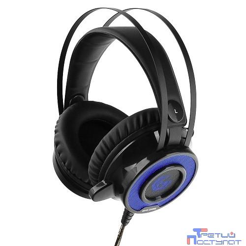 Gembird MHS-G500L Black {20 - 20 000 Гц, 108 дБ, 32 Ом, подсветка синяя, регулятор громкости, кабель 2.5м}