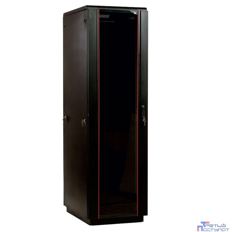 ЦМО! Шкаф телеком. напольный 42U (600x1000) дверь стекло, цвет черный(ШТК-М-42.6.10-1ААА-9005) (3  коробки)