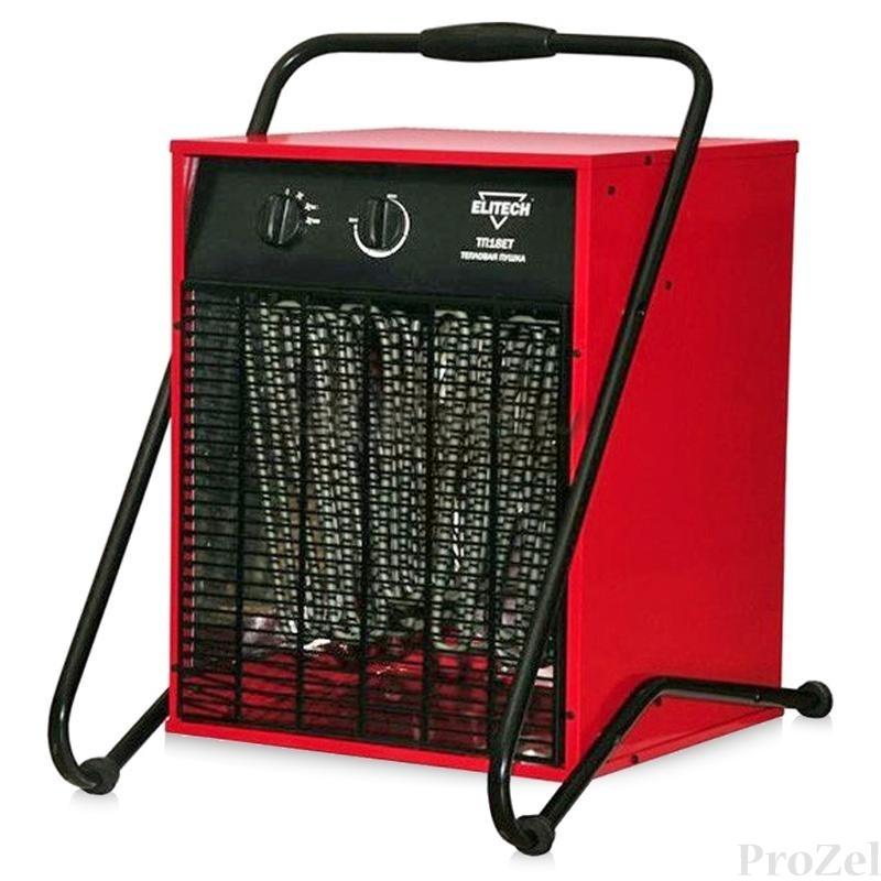 ELITECH Пушка тепловая электро с вентилятором, 380В, 9000-18000Вт, поток-1000м3ч, термостат [ТП 18ЕТ]
