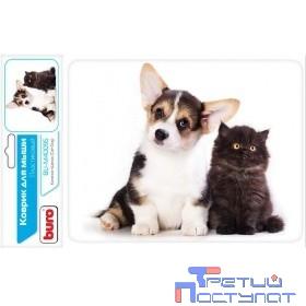 Коврик для мыши Buro BU-M40095 рисунок/котенок и щенок [291854]
