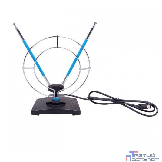 RITMIX RTA-010 {Пассивная, комнатная, усиление 5 дБ, DVB-T, DVB-T2, ISDB-T, DMB-T/H, ATSC, DAB (радио), VHF:87.5-230 МГц ; UHF:470-862 МГц; FM:  87,5-108 МГц}