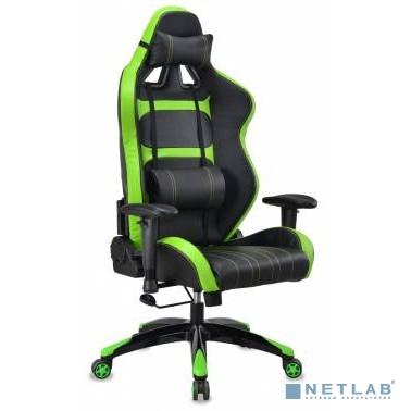 Кресло игровое Бюрократ CH-772/BLACK+SD две подушки черный/салатовый искусственная кожа (пластик черный/салатовый)