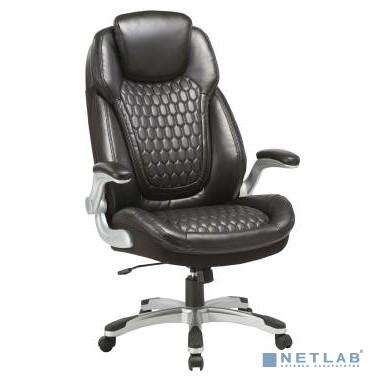 Кресло руководителя Бюрократ T-9917A/BLACK черный рец.кожа/кожзам (пластик серебро)
