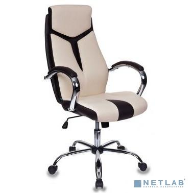Кресло руководителя Бюрократ T-701/BG+BR бежевый искусственная кожа крестовина хром