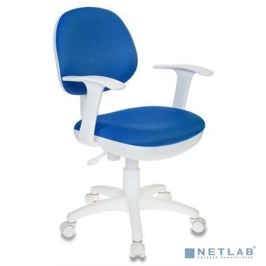Кресло детское Бюрократ CH-W356AXSN/BLUE темно-синий V398-86 колеса белый/синий (пластик белый)