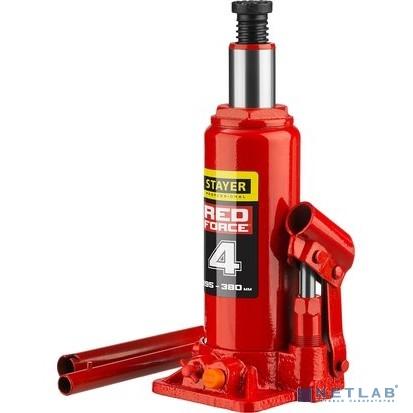 Домкрат гидравлический бутылочный ''RED FORCE'', 4т, 195-380 мм, STAYER 43160-4 [43160-4_z01]