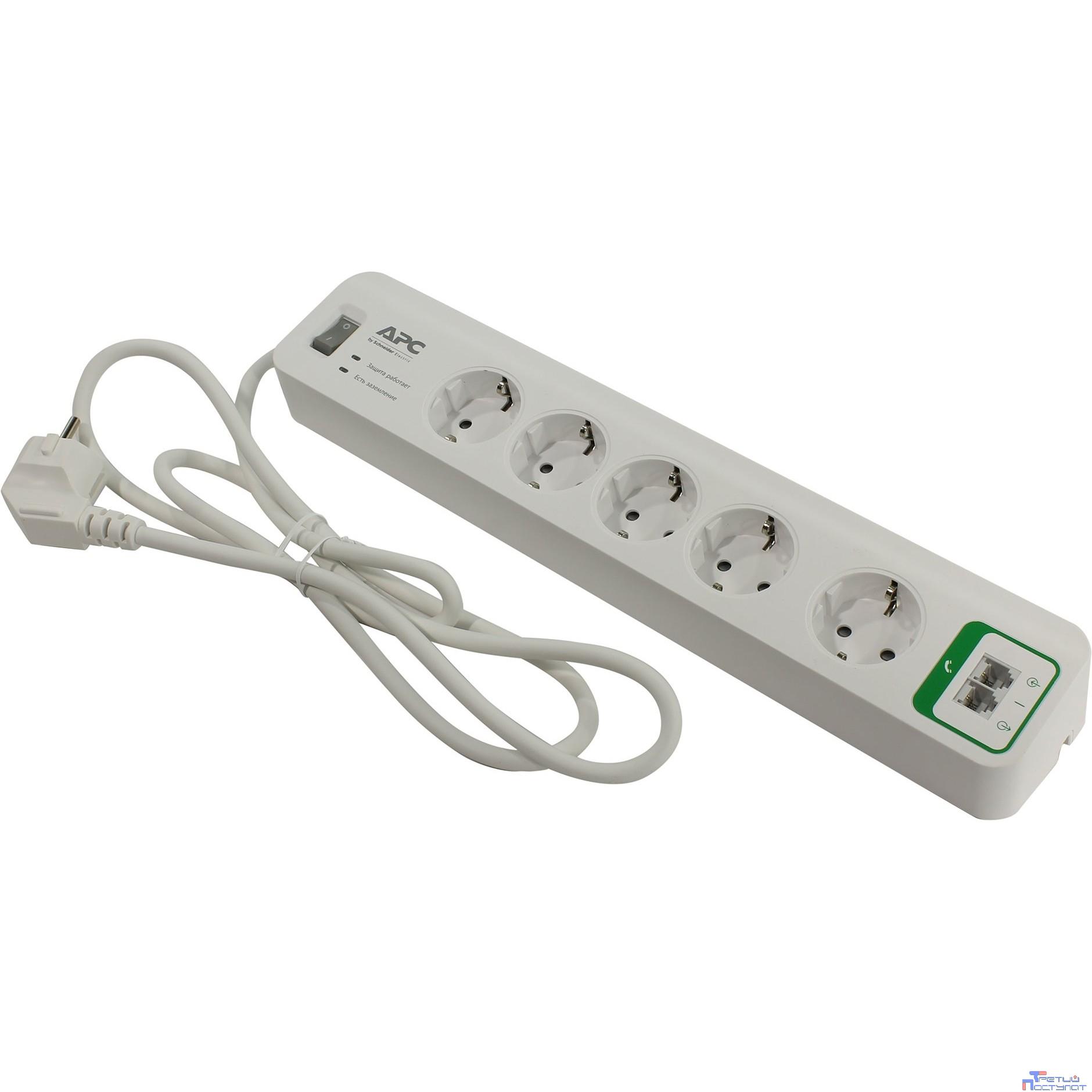 APC PM5T-RS сетевой фильтр 1.83м., 10А, 5 розеток, белый