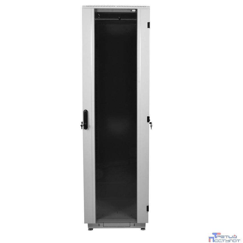 ЦМО! Шкаф телеком. напольный 42U (600x600) дверь стекло (ШТК-М-42.6.6-1ААА) (3 коробки)