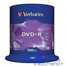 Verbatim  Диски DVD+R  4.7Gb 16-х, 100шт, Cake Box (43551)