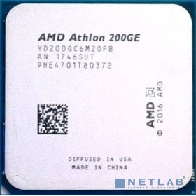 CPU AMD Athlon 200GE OEM (YD200GC6M2OFB) {3.2 GHz/2core/1+4Mb/SVGA RADEON Vega 3/35W/Socket AM4}