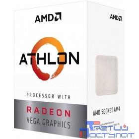 CPU AMD Athlon 200GE AM4 {3.2 GHz/2core/1+4Mb/SVGA RADEON Vega 3/35W/Socket AM4}  (BOX)