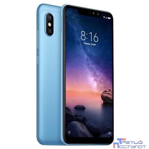Xiaomi Redmi Note 6 Pro Blue 4Gb/64Gb {6.26'' (2280x1080)IPS/Snapdragon 636/64Gb/4Gb/3G/4G/20MP/2MP+12MP/5MP/Android 8.1}