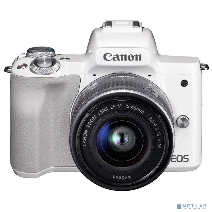 Canon EOS M50 белый {24.1Mpix 3'' 4K WiFi 18-150 IS STM LP-E12 (с объективом)}