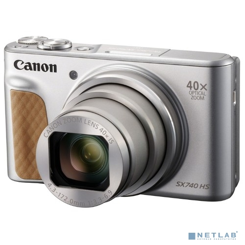 Canon PowerShot SX740HS серебристый {21.1Mpix Zoom40x 3'' 4K SDXC/SD/SDHC CMOS 1x2.3 IS opt 1minF turLCD 10fr/s 30fr/s HDMI/WiFi/NB-13L}