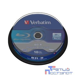 Verbatim диск BD-R 25 GB 6x CB/10 (43742)