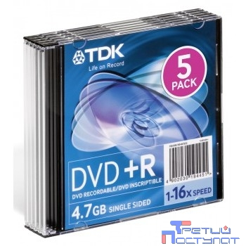 TDK Диски DVD+R 4,7 GB 16x (Slim Case, 5 шт) (t19446)