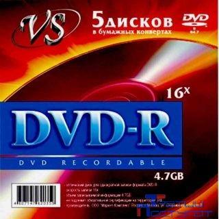 Диски VS DVD+R 4,7 GB 16x конверт/5 (VSDVDPRK501)
