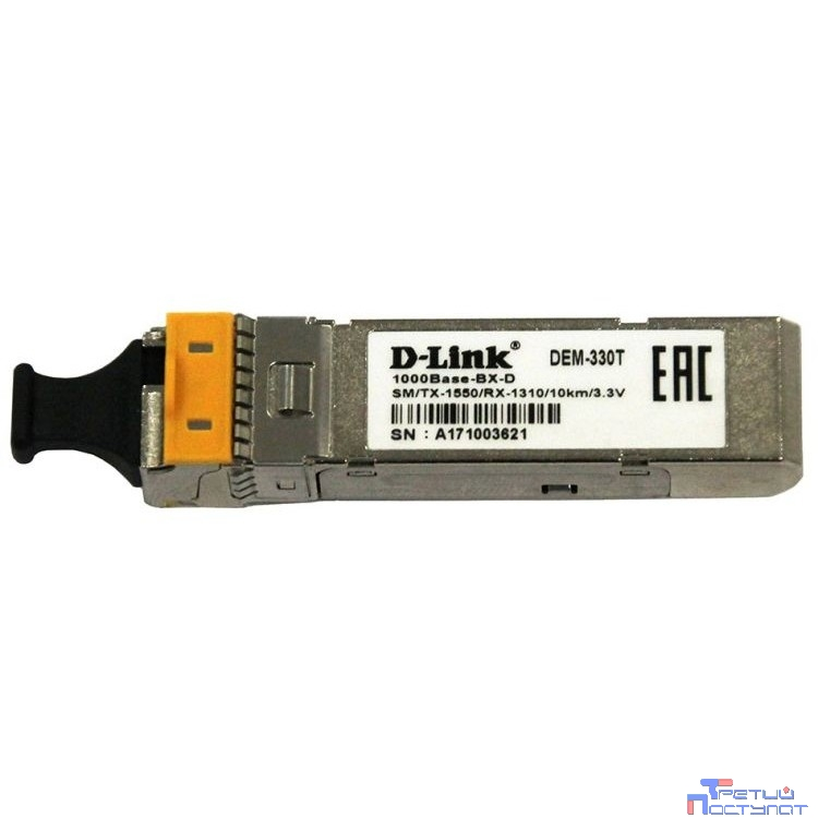 D-Link 330T/10KM/A1A 1000BASE-LX Single-mode 20KM WDM SFP Tranceiver, support 3.3V power, LC connector