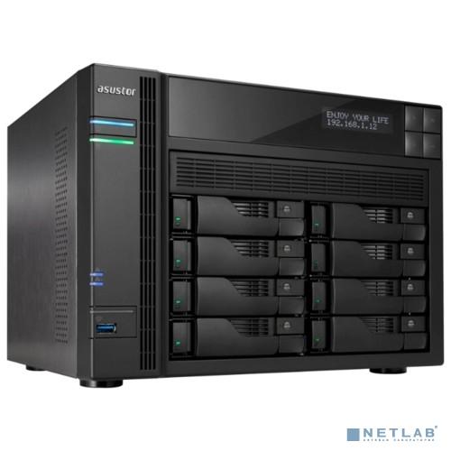 Asustor AS6208T Сетевое хранилище 8-Bay, Intel Celeron Quad-Cord, 2GB DDR3, GbE x 2, HDMI, SPDIF, PCI-E (10GbE ready), USB 3.0 & SATA, LCD Panel, WoL, System Sleep Mode