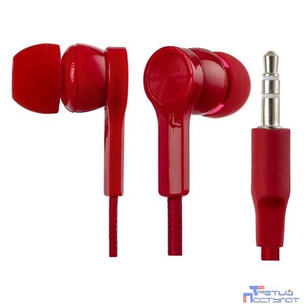 Perfeo наушники внутриканальные RETE тканевый провод красные PF_A4625