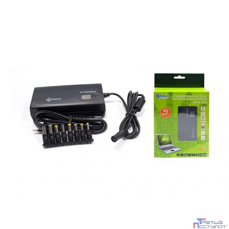 Kreolz NPA650 Slim (Универсальный блок питания для ноутбука15-19.5V 65Вт 8 переходников, подходит к большинству ноутбуков)
