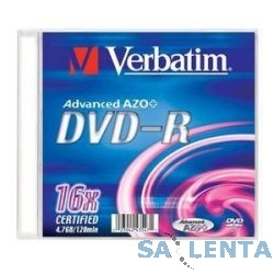 Verbatim  Диски DVD-R Verbatim 16-x, 4.7 Gb, (Slim Case) (43547)