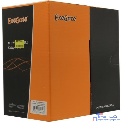 Exegate EX281821RUS Кабель Exegate  UTP-2-C5e-CU-S24-IN-PVC-GY-305 UTP 2 пары кат.5e медь, 24AWG, бухта 305м, серый, PVC