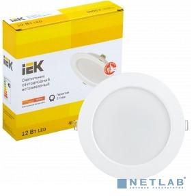 Iek LDVO0-1613-12-3000-K01 Светильник LED ДВО 1613 белый круг 12Вт 3000К IP20 {пластик. корпус, диам 145 мм}