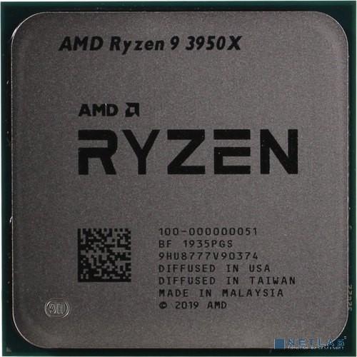 CPU AMD Ryzen 9 3950X BOX  {3.5GHz, Turbo: 4.7GHz, Matisse, Кэш L2 - 8 Мб, Кэш L3 - 64 Мб, 7 нм, 105 Вт, Socket AM4}
