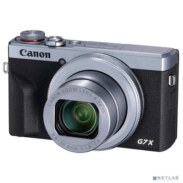 Canon PowerShot G7 X MARKIII серебристый/черный 20.1Mpix Zoom4.2x 3'' 4K SDXC/SD/SDHC CMOS IS opt 5minF rotLCD TouLCD VF 4.4fr/s RAW 60fr/s HDMI/WiFi/NB-13L