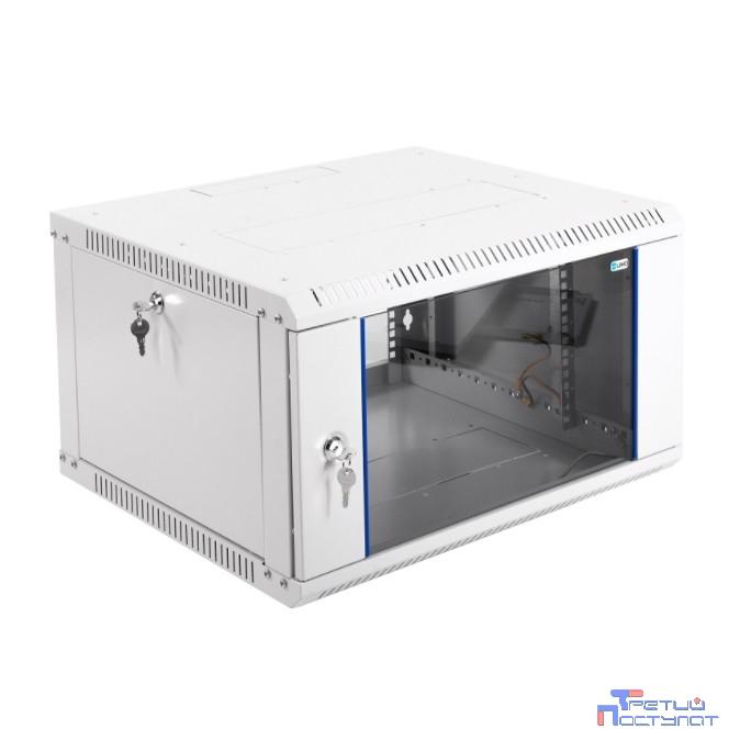 ЦМО! Шкаф телеком. настенный разборный 6U (600х520) дверь стекло (ШРН-Э-6.500) (1 коробка)