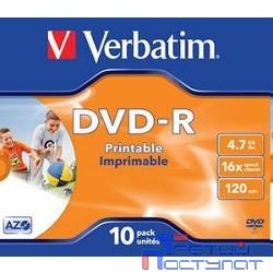 Verbatim  Диски DVD-R Verbatim 16-x, 4.7 Gb, Printable (Jewel Case, 10шт.) ( 43521)